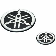 GENUINE YAMAHA ADHESIVE 2x60mm TUNING FORK DESIGN RESIN BADGES DECAL STICKERS