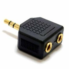 Male to Female 3.5mm Headphone Jack Port Splitter. Gold Audio Jack Double Output