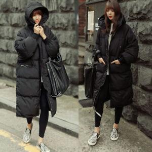 Women's Loose Hooded Warm Winter Long Cotton Down Outwear Parka Coat Snow Jacket