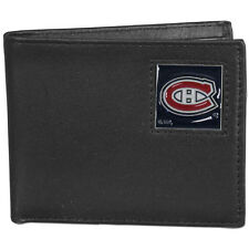 montreal canadiens logo nhl ice hockey leather bi-fold wallet usa made