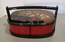 Japanese Lacquer Stack Lunch Bento Box 2-Tiers Black Gold Red Fan Made in Japan