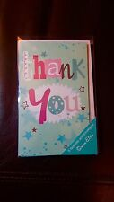 PRETTY STAR THANK YOU BLANK CARDS - BLANK INSIDE PACK OF EIGHT 8 WITH ENVS