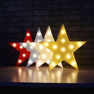 Star LED Night Lights 1Pcs 3D ABS Plastic Luminous Neon Lamps for Living Room