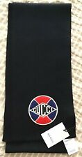 New Authentic Gucci Soccer Ball Badge Wool Knit Scarf Men's NWT