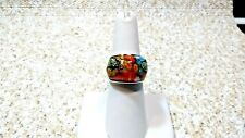 MULTI COLOR MURANO MILLEFLORI GLASS STAINLESS STEEL RING - SIZE 6.5