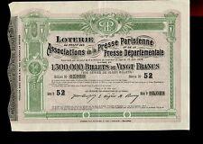 ACTION  LOTERIE ASSOCIATION DE LA PRESSE PARISIENNE 1905