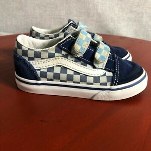 Vans Checkerboard Toddler Youth Size 8 Shoes Blue White Double Strap Low Sneaker