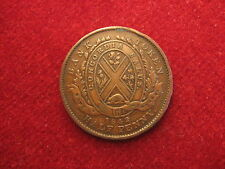 1842, Half Penny Bank Token.Extra Fine.Province of Canada.Higher grade item.