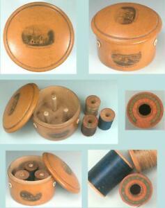 Antique Mauchline Ware Thread Spool Box * 4 Isle of Wight Scenes * Circa 1880s