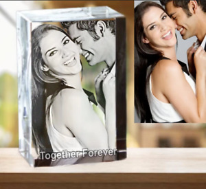 Solid Crystals Personalised 3d Photo Crystal Block Gift