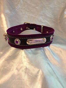 "Handmade leather Personalised Collar , 2"""