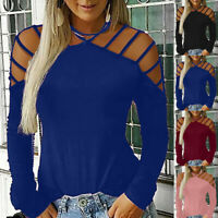 Women's Sexy Casual Blouse Long-Sleeved Strapless Hollowed Openwork T Shirt Tops