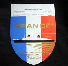 "Vintage CGT FRENCH LINE SS ""France"" Sheild Label NOS Unused"