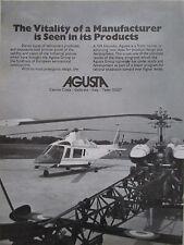 9/1974 PUB HELICOPTERE AGUSTA A 109 HIRUNDO HELICOPTER HUBSCHRAUBER ORIGINAL AD