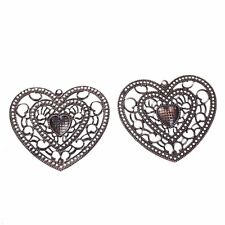 "5 Antique Copper HEART FILIGREE Pendants 2-1/4"" x 2-1/2"" (65mm) (#89036)"