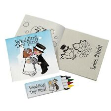 WEDDING KIDS FAVOURS CHILDRENS COLOURING ACTIVITY BOOKS AND CRAYONS PACK OF 12