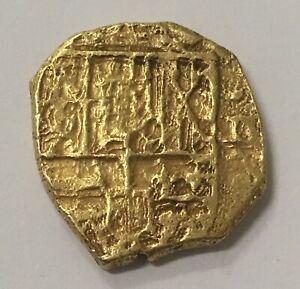 🔥RARE🔥SPANISH GOLD DOUBLOON COB 2 ESCUDOS CARLOS II SEVILLA MINT (M)