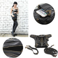 Men Women Leather Steampunk Belt Bag Waist Leg Hip Holster Cyber Punk Bag