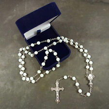 Catholic white round faceted glass Holy Communion rosary beads velvet gift box