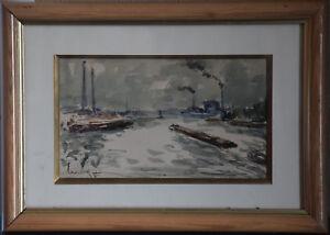 Fernand Herbo (1905-1995) - Péniches à Argenteuil - Aquarelle