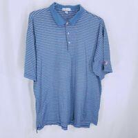 Peter Millar Mens Blue Orange Striped Short Sleeve Polo Shirt Size XL