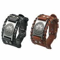 Mens Viking Runic Compass Celtic Pagan Leather Rope Nordic Bracelet Cuff Bangle