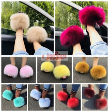 Multi-colors Slide Women's Fluffy Real Fox Fur Slides Slippers Outdoor Shoes New