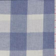 Natural/Denim Blue Check Linen Look, Fabric By The Yard