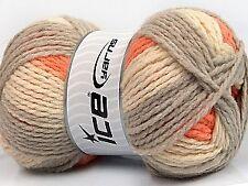400 g  DESIGN WOOL WORSTED Orange Grau Creme  53554 - Setpreis - 4.st