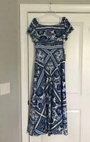 ELIZA J Blouson Blue White Floral Off Shoulder Mediterranean Maxi Dress 10P NWT