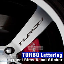 Universal Car Wheel Rims TURBO Lettering Decal Sticker 4Pcs for All Vehicle