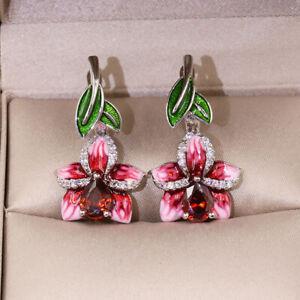 Gorgeous Pear Cut Ruby Enamel Flower Dangle Earrings 925 Silver Wedding Jewelry