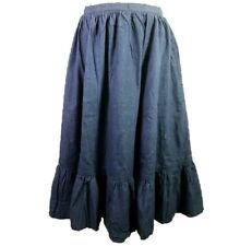 Chambray Denim Prairie Skirt Western Vintage 80s Size 3 4 Pockets Boho Ruffle