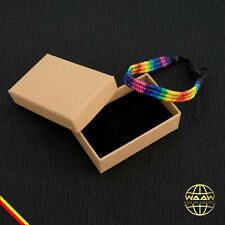 Neues AngebotArmband handgefertigt mit Etui Gay PRIDE LGBT Regenbogen Schmuck Herren Damen
