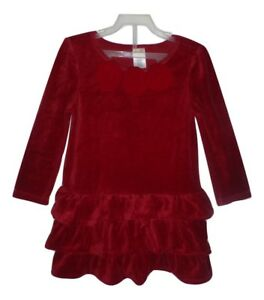 Gymboree Sweet Treats Red Velour Long Sleeved Christmas Holiday Girls Dress 4