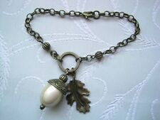 LARGE 3D ACORN WITH OAK LEAF Bronze Cream CHARM BRACELET GIFT POUCH Autumn