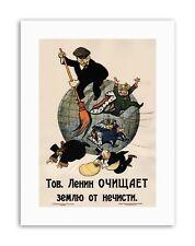 Le Communisme Lénine anti Capitalist REVOLUTION Soviet Poster Rétro Toile Art Prints