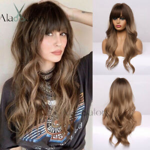 Long Brown Wavy Hair Wigs with Bangs For Women Heat Resistant Synthetic Ombre