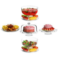 5 IN 1 MULTIFUNCTIONAL MODERN DESIGN CAKE STAND & DOME PLASTIC COVER SALAD BOWL