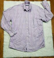 Burberry London Men's Purple White Plaid Long Sleeve Button Down Shirt Medium
