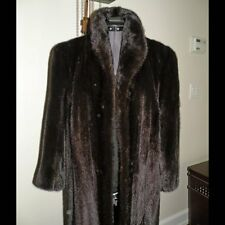 Ladies Vintage Ranch Mink Coat Size Small by Black Galaxy Plush Dark Brown