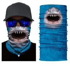 3D Shark Face Shield Protective Balaclava Neck Gaiter Headwear UV Scarf Blue