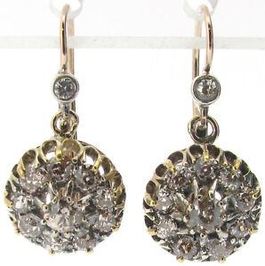 Diamond cluster drop dangle earrings vintage Victorian old cut 1.36ct I SI1 good