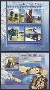 Togo  3929 - 3932 KB + Block 596 (3933) **, Louis Bleriot (24 ME)
