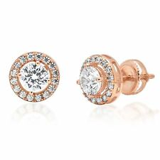 1.8ct Round Cut Stud Halo Solitaire Earrings Gift 14k Rose Gold Screw Back