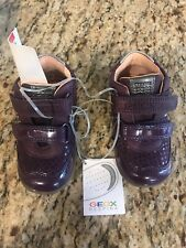 Nwt Geox Girls' Purple Suede Shoes Sneakers First Walker Breathable Eu 21 Us 5.5