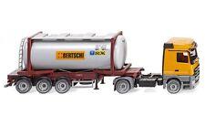 """#053602 - Wiking Tankcontainersattelzug Swap (MB Actros) """"Bertschi"""" - 1:87"""