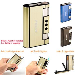 Outdoor Windproof Torch Jet Lighter Cigarette Case Holder Pocket Tobacco Box
