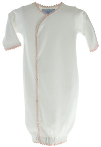 Pixie Lily Baby Girls White Layette Gown Pink Crochet Trim