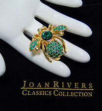 NEW Joan Rivers Green Emerald May BIRTHSTONE BEE PIN Large Brooch Pave Crystal